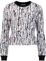 Carven Cropped Printed Stretch-Neoprene Sweatshirt