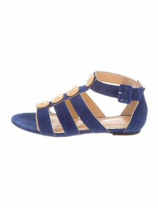 Charlotte Olympia Suede Gladiator Sandals Blue