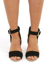 West Coast Wardrobe Susie Braided Toe Strap Sandal in Black Suede