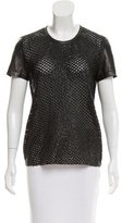 Reed Krakoff Leather Short Sleeve Top
