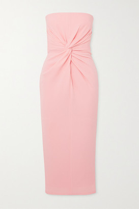 Alex Perry Lindsey Strapless Gathered Crepe Midi Dress - Pastel pink