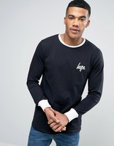 Hype Ringer Long Sleeve T-Shirt In Black