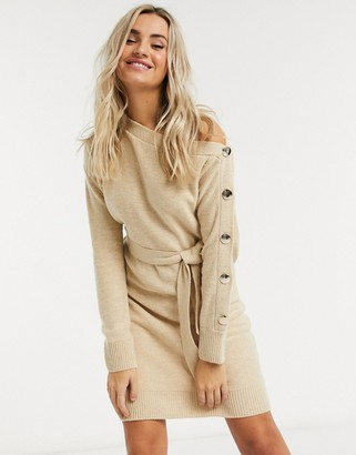 Outrageous Fortune knitted slash neck button sleeve pencil dress with belt in cream
