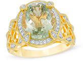 Zales Oval Green Quartz and Lab-Created White Sapphire Ring in Sterling Silver with 14K Gold Plate