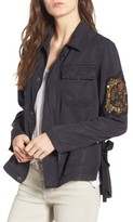 Pam & Gela Women's Cargo Jacket With Crest Patch