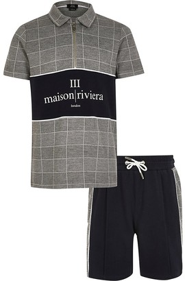 River Island Boys grey check Maison Riviera polo outfit