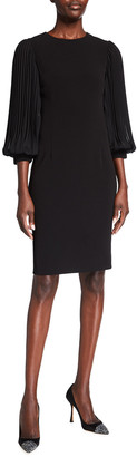 Rickie Freeman For Teri Jon Pleated Chiffon-Sleeve Stretch Crepe Sheath Dress