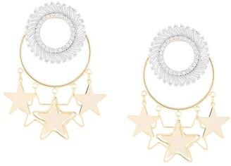 Venna Star Hoop Crystal Earrings