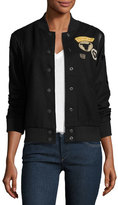 True Religion Leather-Trim Wool Varsity Jacket, Black