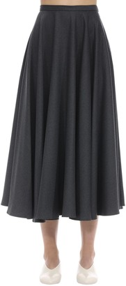 Lardini Stretch Virgin Wool Flannel Midi Skirt