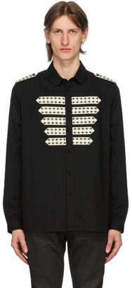 Saint Laurent Black Striped Officer Shirt