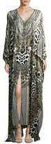 Camilla Slit-Front Printed Silk Kaftan Coverup, One Size