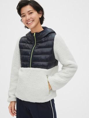 Gap Mix-Fabric Sherpa Half-Zip Hoodie