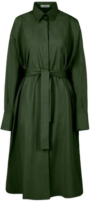 A Line Clothing Green Oversized Shirt Dress
