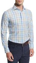 Peter Millar Cape Plaid Long-Sleeve Sport Shirt, Light Blue
