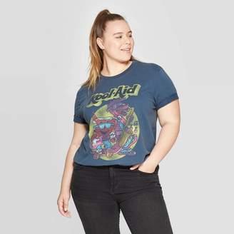 Kool-Aid Women's Plus Size Kool-Aid Short Sleeve Cropped Graphic T-Shirt - Mighty Fine (Juniors') - Navy 1X