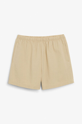 Monki High-waist seersucker shorts