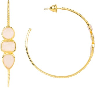 Latelita Venice Gemstone Hoop Earring Gold Rose Quartz
