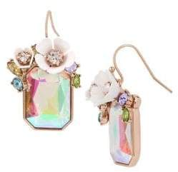 Betsey Johnson Flower Crystal Rectangle Stone Drop Earrings