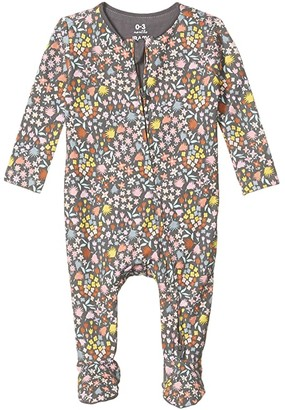Cotton On The Snug Long Sleeve Zip Romper (Infant/Toddler) (Rabbit Grey/Mia Floral) Girl's Jumpsuit & Rompers One Piece