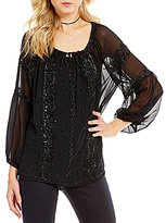 Chelsea & Violet Beaded Tie-Neck Illusion Long Sleeve Top