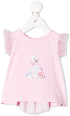 Lapin House front print tulle T-shirt