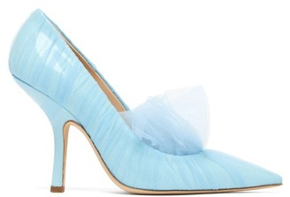 Midnight 00 Shell Point-toe Tulle & Patent-leather Pumps - Light Blue