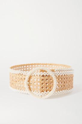 Rosantica Mamba Faux Pearl-embellished Wicker Waist Belt - White