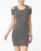 Jessica Simpson Mara Printed Cold-Shoulder Bodycon Dress