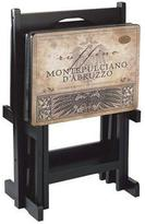 Home Decorators Collection 25 in. H Tuscan Multi Wood Wine TV Trays (Set of 4)