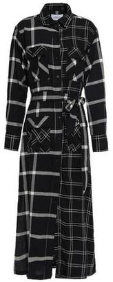 Current/Elliott The Ana Paneled Checked Twill And Gauze Midi Shirt Dress