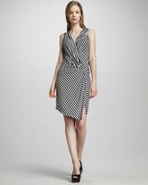 Ali Ro Striped Wrap-Illusion Dress