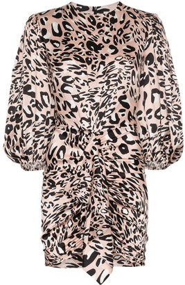 Alexandre Vauthier Leopard Print Gathered Mini Dress
