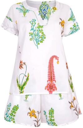 Nologo Chic Botanical Pj Shorts - Pure Cotton - White