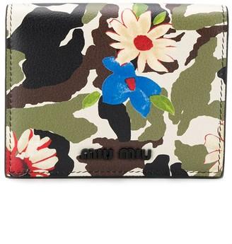 Miu Miu Camouflage Floral Print Wallet