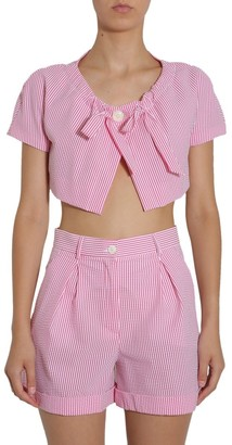 Boutique Moschino Striped Bow Detail Cropped Jacket