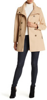 DKNY Double Breasted Stand Collar Wool Blend Trench Coat