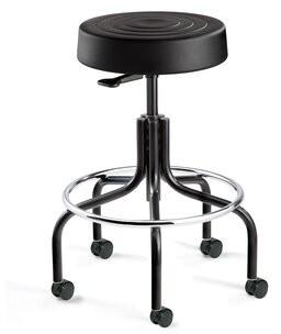 "Latitude Run KAerjeng Backless Stool with Dual-Wheel Hard Floor Casters Color: Black, Size: 26"" H x 22"" W x 22"" D"