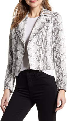 Cupcakes And Cashmere Beatrix Snake Print Faux Leather Moto Jacket