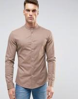 Asos Skinny Shirt With Grandad Collar In Dusty Pink