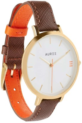 Auree Jewellery Montmartre Yellow Gold Watch With Chestnut Brown & Orange Strap