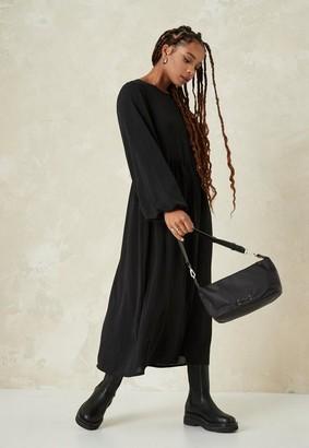 Missguided Black Oversized Midi Smock Dress