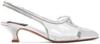 Marc Jacobs Transparent and Silver Cap Toe Slingback Heels