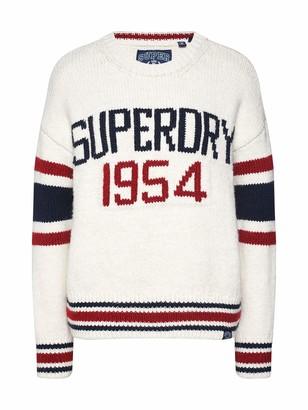Superdry Intarsia Slouch Knit Womens Sweater UK 16 Reg Cream