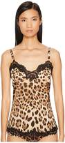 Dolce & Gabbana Stretch Silk Lace Cheetah Cami Women's Pajama