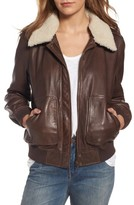 Treasure & Bond Women's Leather Aviator Jacket With Removable Genuine Shearling Collar