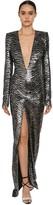 Alexandre Vauthier Zebra Sequins Embellished V Neck Dress