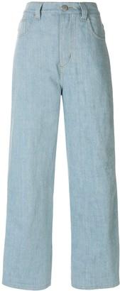 Koché stripe detail wide leg jeans