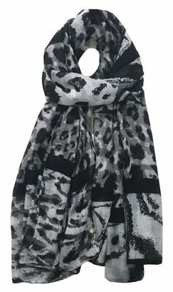 World of Shawls Leopard Print Scarfs for Women Ladies - Black Pink Navy Silver - Stylish Scarves Shawl Wrap Stole for Women (Silver/Grey)