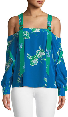 Tanya Taylor Paola Floral Split-Sleeve Crepe Top